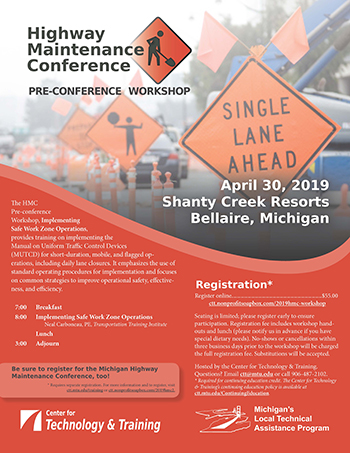 Highway Maintenance Conference Pre-conference Workshop flyer