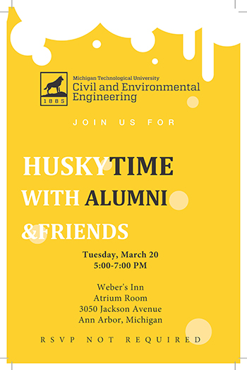 Michigan Tech Department of Civil and Environmental Engineering alumni and friends reception flyer