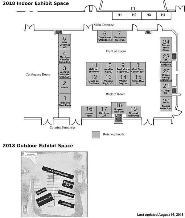 Map of 24 exhibitor booths and outdoor exhibit space with four overflow booths available in the hall; updated August 16, 2018